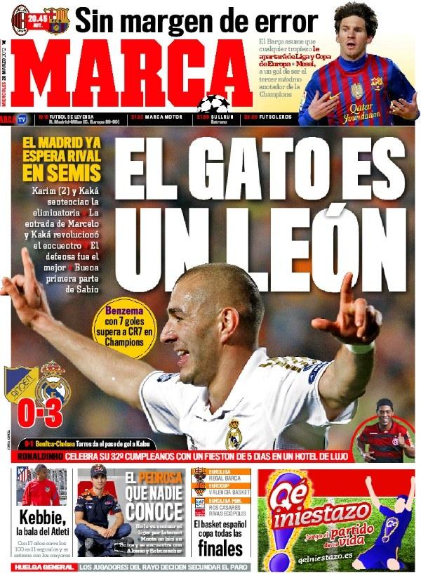 Benzema à la Une de Marca